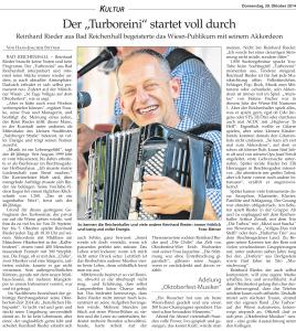 Oktoberfest 2014 mit dem Turboreini Zeitungsartikel
