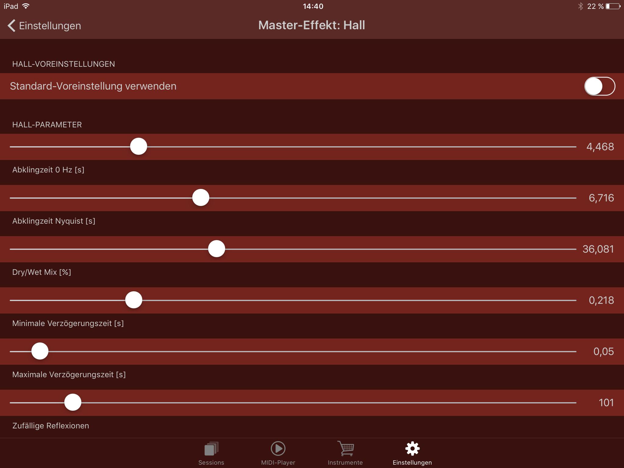 Master-Effekt: Hall Turbosounds-App Einstellung